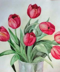 Картина акварелью Тюльпаны