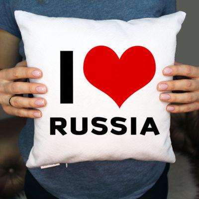 Интерьерная 3D подушка Я люблю Россию